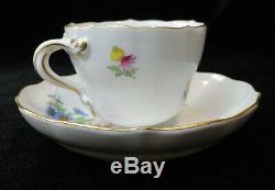 Antique MEISSEN Germany DEMITASSE/Demi CUP & SAUCER Handpainted Flowers Gold Trm
