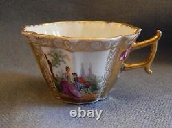 Antique Meissen Dresden Watteau Scenes Gold Cup & Saucer Augustus Rex Mark