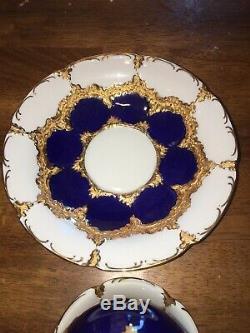 Antique Meissen Hand Painted Cobalt Blue Gold Tea Cup & Saucer EC