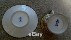 Antique Meissen Porcelain Cup & Saucer Gold Trim