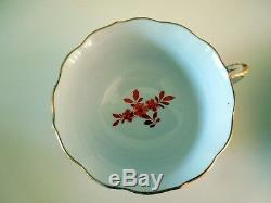 Antique Meissen Red Ming Dragon Cup Saucer Plate Trio Scalloped Gilded 320510