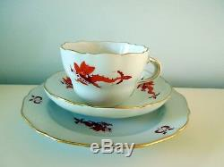 Antique Meissen Red Ming Dragon Flat Cup Saucer Plate Scalloped Gilded Rims