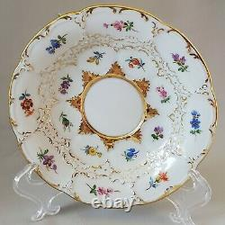 Antique Meissen b-form Demitasse Cup & Saucer White with Gold and Flowers