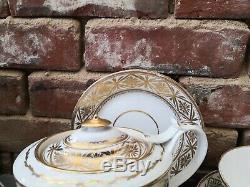 Antique Miles Mason Gold & White 19 Piece Georgian 1805 Tea Set Pattern N250
