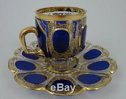 Antique Moser Glass Cup & Saucer Cabochon Panel