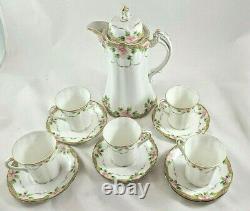 Antique Nippon Chocolate Tea Pot Set Pink Floral Gold With 5 Cups/Saucers