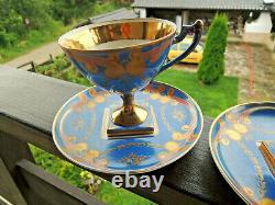 Antique Pair Sevres Porcelain BLUE GOLD DIAMOND Base Cups Saucers c. 18th-rare
