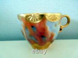 Antique Rare Coalport Dainty Cup Saucer Marbleized Pattern Gilded Bowl