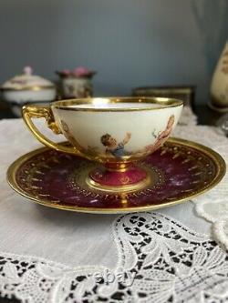 Antique Richard Wehsner Dresden Tea Cup & Saucer Raised Gold HP Cherub