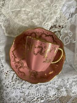 Antique Royal Crown Derby Demitasse Cup Saucer Set Pink Gold 2644