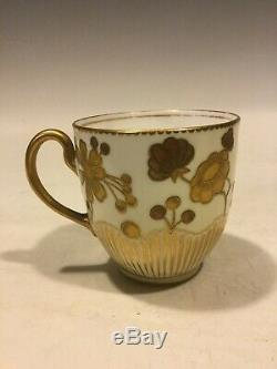 Antique Royal Crown Derby Raised Two-Tone Gold Cup & Saucer HP Aesthetic Floral