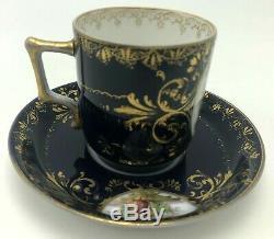 Antique Royal Vienna Portrait Tea Cup & Saucer Cobalt Gold Bindenschild Elegant