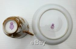 Antique Royal Worcester Japanese Aesthetic Gilt / Gilded Cup & Saucer 1878 (1)
