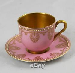 Antique Royal Worcester Jeweled Demitasse Cup & Saucer Pink & Gold Gilt C 890