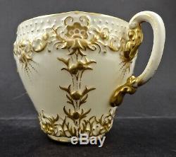 Antique Royal Worcester Tea Cup & Saucer, Embossed Gold