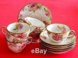 Antique SIX (6) HAVILAND LIMOGES Cups & Saucers Pink Roses Leaves BRUSHED GOLD