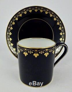 Antique Sevres Cup & Saucer, Cobalt Blue