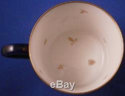 Antique Sevres French Cobalt Blue + Gold Porcelain Cup & Saucer Porzellan Tasse