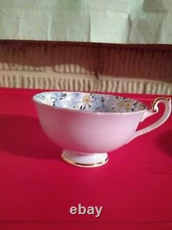 Antique Shelley Blue Daisy Fine Bone China Cup & Saucer WithGold Trim