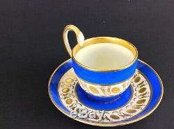 Antique Vienna Coffee Cup Saucer Blue Gold Cabinet Cup Saucer 1820 Biedermeier