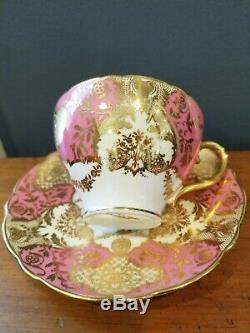Antique/ Vintage Cauldon England Tea Cup & Saucer #3459 Pink and Gold Set of 10