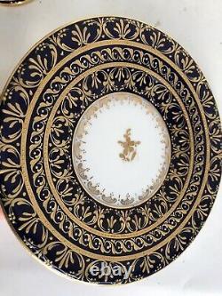 Antique c. 1890 Meissen Dresden Lamm Encrusted Gold Raised HP Figural Cup Saucer