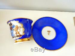Armorial KPM Berlin Cup Saucer Hohenzollern Coat of Arms HP Antique 1849 1870