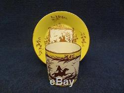 Arras Porcelain Cup & Saucer Yellow Ground And Gilded Decoration Hunting Panels