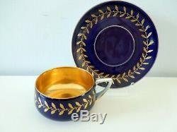 Art Nouveau Rosenthal Cup Saucer Donatello Form Cobalt Gold Gilded Bowl 1905 -10