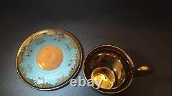 Atq Turquoise Roses Flower Heavy Gold Demitasse Cup & Saucer Teacup Footed Mark