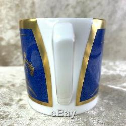 Authentic Cartier La Maison De LEmpereur Blue Gold Bone China Cup &Saucer(MINT)