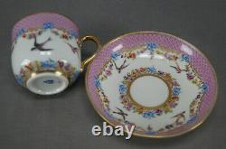 Authentic Royal Vienna Hand Painted Birds Blue Bows Pink Gold Cup & Saucer C1787