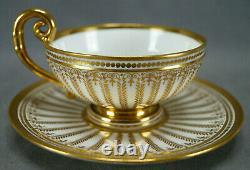 Authentic Sevres Gold Gilt Laurel Leaves Empire Form Tea Cup & Saucer Circa 1822