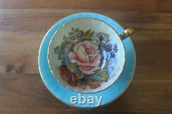 Aynsley Bailey Cabbage Rose Poppy Bouquet Turquoise Gold Teacup Tea Cup Saucer