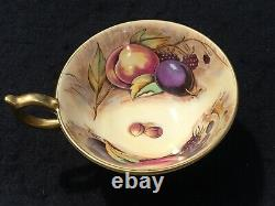 Aynsley Bone China Orchard Gold Fruit Tea Cup, Saucer Signed N Brunt