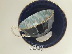 Aynsley Butterfly Chrysanthemum Cobalt Blue Cabinet Tea Cup Saucer Gold Handle