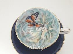 Aynsley Butterfly Chrysanthemum Cobalt Blue Cabinet Tea Cup Saucer Gold Handle