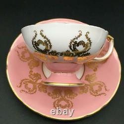 Aynsley Cabbage Rose Flowers Pink & Gold Pedestal Tea Cup & Saucer Bailey Cs83