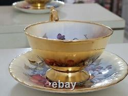 Aynsley Cup & Saucer J A Bailey Cabbage Rose Floral and Gold