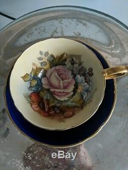 Aynsley England Cobalt Gold Signed JA Bailey Rose Tea Cup & Saucer Set
