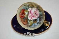 Aynsley England Cobalt Gold Signed JA Bailey Rose Tea Cup & Saucer Set