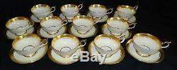 Aynsley England Sandringham 12 Cups & Saucers Bone China Gold Emboss #3830