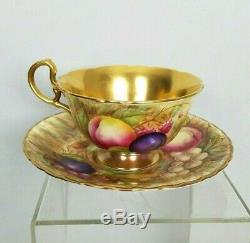 Aynsley Footed Tea Cup & Saucer Fruit Orchard Gold Signed D Jones N Brunt Vtg