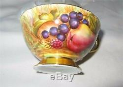 Aynsley Gold Cup Saucer Hand painted by D. Jones All Fruits Pattern C746