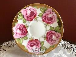 Aynsley Heavy Gold Trimmed Cabbage Rose Cup & Saucer
