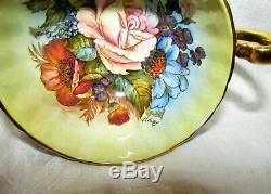 Aynsley JA Bailey Signed Cobalt with Gold Pink Cabbage Rose Tea Cup & Saucer