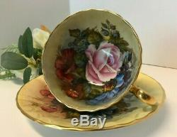 Aynsley J A Bailey Cup & Saucer Cabbage Roses Floral Ribbed Gold Teacup Signed