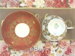 Aynsley J. A. Bailey Footed Tea Cup & Saucer Cabbage Rose Bouquet Gold Orange