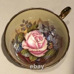Aynsley J A Bailey Signed Tea Cup & Saucer Cabbage Rose Floral Gold