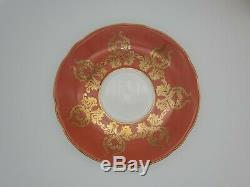 Aynsley Orange Gold Floral Center Footed Tea Cup & Saucer RARE c. 1930s Signed
